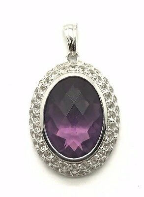 Sterling 925 Faceted Purple Amethyst Double CZ Halo February Birthstone Pendant