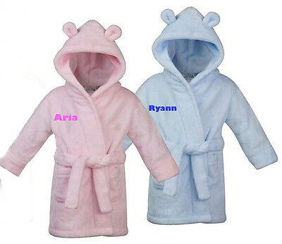 Personalised Baby Dressing Gown House Coat Bath Robe  Embroidered Pink Blue