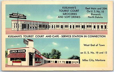 Miles City, Montana Postcard KUILMAN'S TOURIST COURT Route 10 Roadside Linen