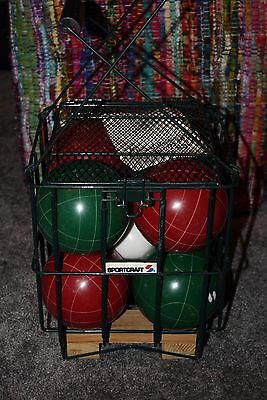 Sportcraft Bocce Ball set Large and VERY Heavy 113mm Vintage in Wire Carry Case