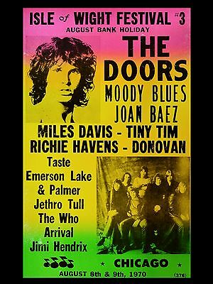 "The Doors Isle of Wight 1970 16"" x 12"" Photo Repro Concert Poster"