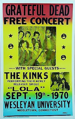 "Grateful Dead / Kinks Welsey 16"" x 12"" Photo Repro Concert Poster"