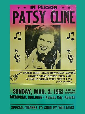 "Patsy Cline Kansas 1963 16"" x 12"" Photo Repro Concert Poster"