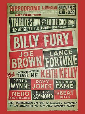 """Billy Fury Cochran Tribute Show 16"""" x 12"""" Photo Repro Concert Poster"""