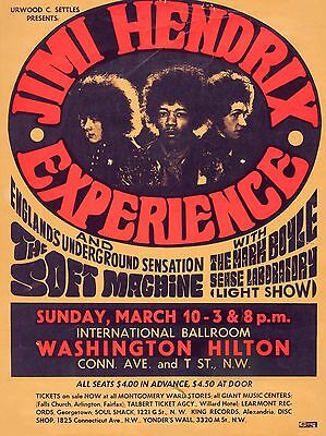 "Jimi Hendrix Washington 16"" x 12"" Photo Repro Concert Poster"