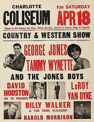 "George Jones / Tammy Wynette 16"" x 12"" Photo Repro Concert Poster"