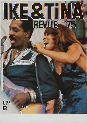 """Ike and Tina Turner 1975 German 16"""" x 12"""" Photo Repro Concert Poster"""
