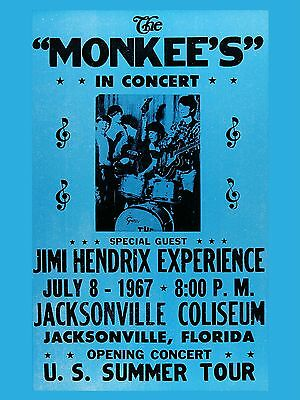 "Jimi Hendrix / The Monkees Jacksonville 16"" x 12"" Photo Repro Concert Poster"