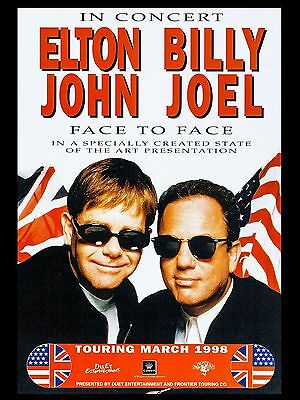 "Elton John / Billy Joel 16"" x 12"" Photo Repro Concert Poster"