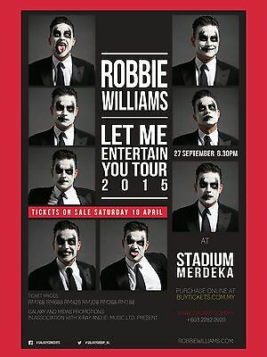 """Robbie Williams Malaysia 2015 16"""" x 12"""" Photo Repro Concert Poster"""