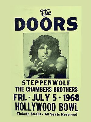 "The Doors / Steppenwolf Hollywood Bowl 16"" x 12"" Photo Repro Concert Poster"
