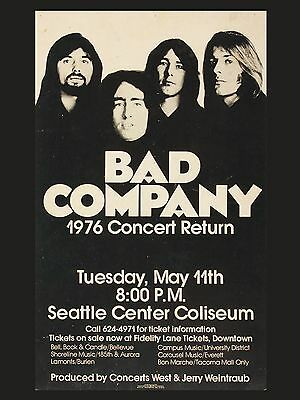 """Bad Company Seattle 16"""" x 12"""" Photo Repro Concert Poster"""