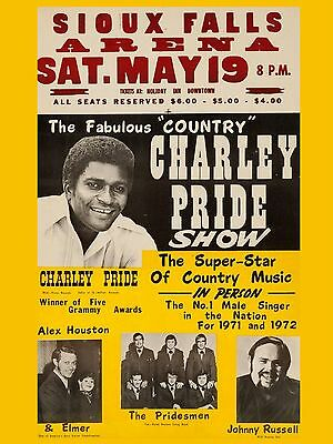 "Charlie Pride Sioux Falls 16"" x 12"" Photo Repro Concert Poster"