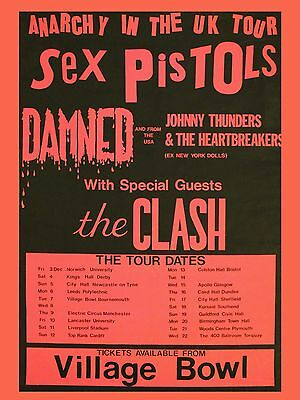 "Sex Pistols /Clash Bournemouth 16"" x 12"" Photo Repro Concert Poster"