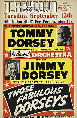 "Tommy and Jimmy Dorsey Terrytoon 16"" x 12"" Photo Repro Concert Poster"