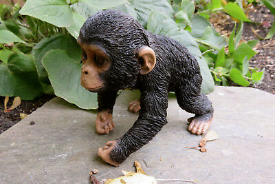 "CHIMPANZEE BABY MONKEY FIGURINE STATUE RESIN PET 5"" H Jungle Animal Ornament"