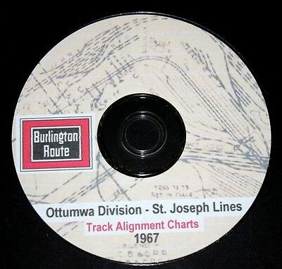 CB & Q RR Burlington Route1967 St Joseph Lines Track Chart PDF Pages on DVD