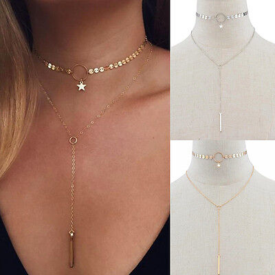 Fashion Sequins Tassel Pendant Chain Necklace Double Layer Choker Collar Jewelry