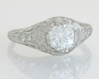 Antique Estate GIA Certified 1.00ct Diamond Platinum Art Deco Engagement Ring