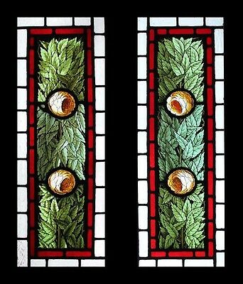 Rare Antique English Painted Camellia Trees Pair Victorian Stained Glass Windows