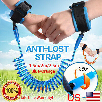 US  Anti Lost Wrist Link Belt Safety Harness LeashTraction Rope For Toddler Kids