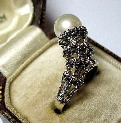 Vintage Style Jewellery Sterling Silver Natural Real Pearl Marcasite Ring L 5.75