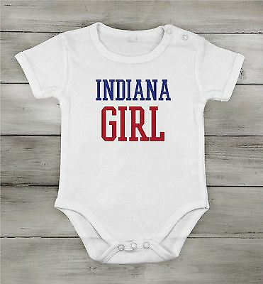 Baby Cotton unisex Newborn bodysuit Short One-piece indiana girl usa state