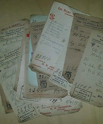 Lot of 29 Doctor's Prescription slips, 1899-1901/ Concord. North Carolina