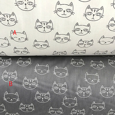 One PCS Cotton Fabric Pre-Cut Quilt cloth Fabric for Sewing Cat White or Black