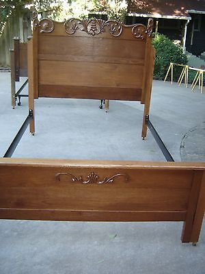 Antique Tall Oak Bed w/ applied carving Modified to fit queen-size mattress 9245