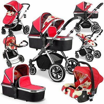 iVogue - Apple Luxury 3in1 Pram Stroller Travel System (Complete With Car Seat)