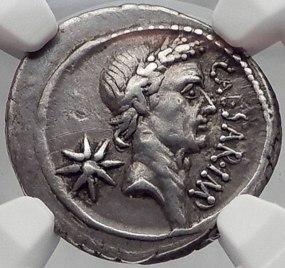 JULIUS CAESAR Lifetime 44BC Rome Ancient Silver Roman Coin NGC Certified XF Rare