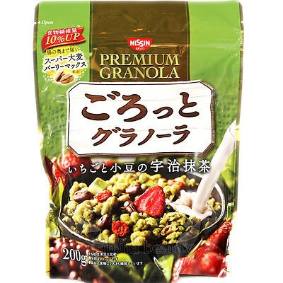 Nissin Japan Premium Granola Uji Matcha Green Tea Flavor Cereal Breakfast 200g