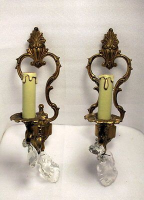 Pair Of  French Bronze Ormulu And Prisms Wall Lamps Sconces Louis Xv Style N°2