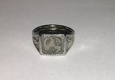 VINTAGE 10K WHITE GOLD MASONIC OR FRATERNAL MENS RING MOUNT size 12.5