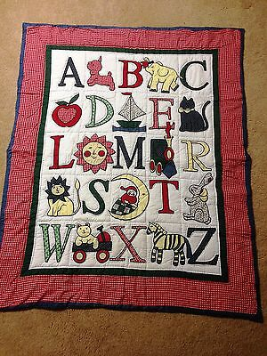 "Alphabet Blanket Quilt Quilted 42"" x 52"" Baby Nursery Red Blue Never Used ABCs"