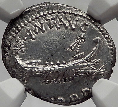 MARK ANTONY & Cleopatra 31BC Actium SHIP LEG XX Ancient Silver Roman Coin NGC MS