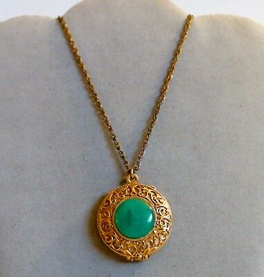 Max Factor Solid Perfume Pendant Necklace Green Cabochon Full Hypnotique