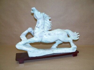 Chinese Marble Hand Carved Wild Horse Stallion Sculpture Figurine and Stand NR
