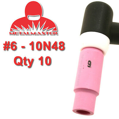 10 Pack 10N48 #6 Tig Torch Nozzle Alumina Cup Gas Shield Shroud