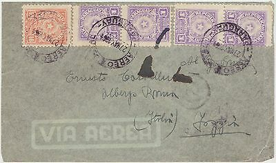 Paraguay Cover Via Aerea 1954 To Foggia Italy - 5 Stamps