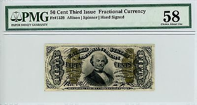 3rd Issue Fr.1329 (Hand Signed) 50c U.S. Fractional Currency Note - PMG Ch.AU 58
