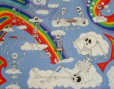 """ORIGINAL SKELETON ART Day of the Dead -- Skeletons in Clouds and Rainbow 16""""x20"""""""