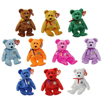 TY Beanie Babies - SET OF 10 DECADE BEAR COLORS (Pink, Blue, Greem, Orange etc..