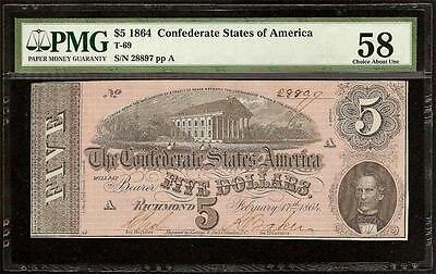Au 1864 $5 Dolllar Confederate States Currency Civil War Note Money T-69 Pmg 58
