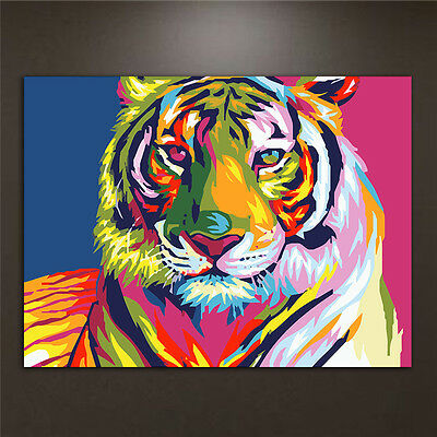DIY Oil Paint By Numbers Kits Tiger Acrylic Drawing On Canvas Home Office Decor