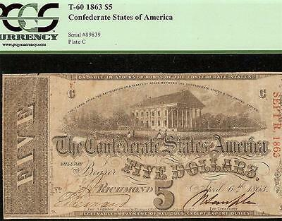 1863 $5 Dollar Bill Confederate States Currency Civil War Note Money T-60 Pcgs