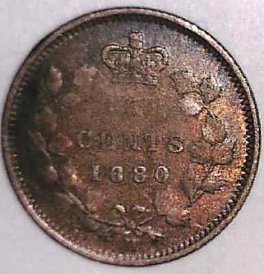 1880-H FINE-VF, obverse 3, Canadian Five Cents Silver #1