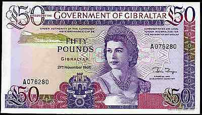 Gibraltar. £50, 27-11-1986, Almost Uncirculated-Uncirculated.