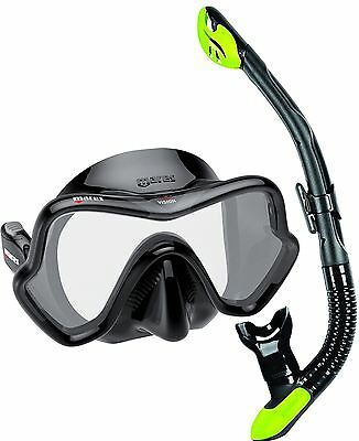 Mares Deluxe Snorkel Set - Silicone Mask and Silicone Dry Snorkel - BLACK LIME
